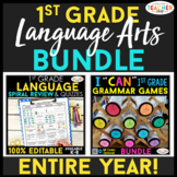 1st Grade Language Arts BUNDLE | Spiral Review, Games & Qu