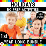1st Grade Language Arts & Math Holiday No Prep Growing Bundle