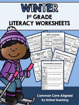1st Grade Language Arts & Math Seasonal No Prep Growing Bundle