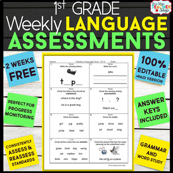 1st Grade Language Assessments | 2 Weeks FREE