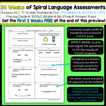 1st Grade Language Assessments | 1st Grade Grammar Quizzes EDITABLE