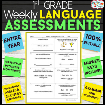 1st Grade Language Assessments | Weekly Spiral Assessments for ENTIRE YEAR