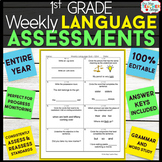 1st Grade Language Assessments | Weekly Spiral Assessments