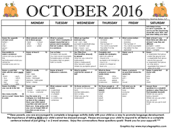 1st Grade Language Calendar October 2016