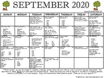1st Grade Language Calendar September 2016