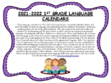 1st Grade Language Calendars 2020-2021 - Distant Learning