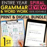 1st Grade Language Spiral Review & Quizzes   DIGITAL & PRINT