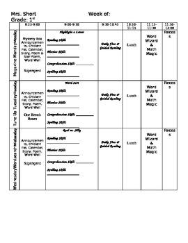 1st Grade Lesson Plan Template