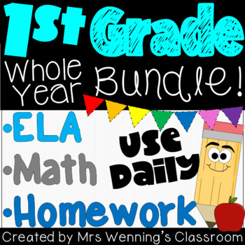 1st Grade Language Arts, Spelling, Math & Homework Mega Bundle - WHOLE YEAR!!!