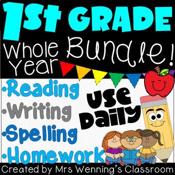 1st Grade Literacy Block, Spelling, and Homework Bundle - WHOLE YEAR!!!