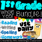 1st Grade Literacy Block, Spelling, and Homework Bundle - WHOLE YEAR!!!