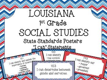1st Grade Louisiana Social Studies Standards Posters