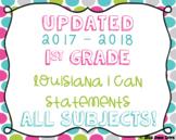 1st Grade Louisiana State Standards I Can Statements Bundl