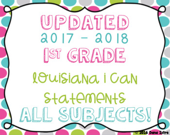 1st Grade Louisiana State Standards I Can Statements Bundl