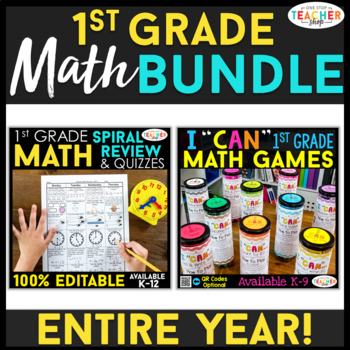 1st Grade MATH BUNDLE | Spiral Review, Games & Quizzes | ENTIRE YEAR