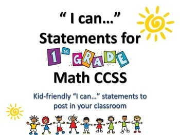 """1st Grade MATH CCSS """"I Can"""" Statements {Editable PowerPoin"""