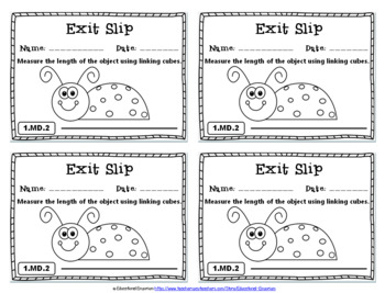 1st Grade MD Exit Slips: Measurement & Data Exit Slips 1st Grade