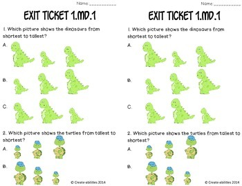 Ordering Objects Math Tasks and Exit Tickets