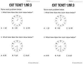 Telling Time Math Tasks and Exit Tickets 1st Grade
