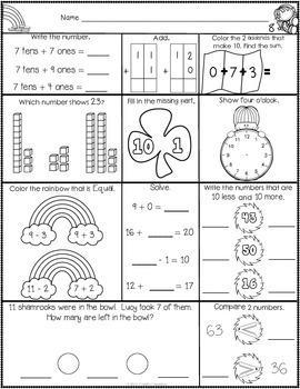 1st Grade March Math Journal