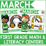First Grade March Math & Literacy Centers Bundle