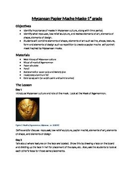 1st Grade Masks - Ancient Art of China and Mycenae