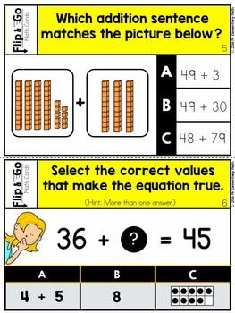 Addition within 100 - 1st Grade Math Flip and Go Cards