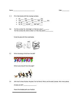 1st Grade Math Assessment