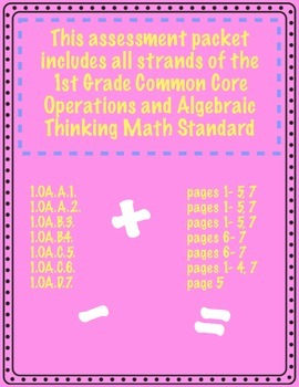 1st Grade Math Assessment - Operations and Algebraic Thinking (CCSS)