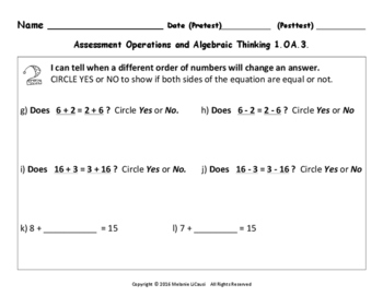 1st Grade Math Assessment with Marzano Scales Aligned to Common Core