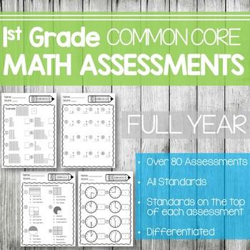 1st Grade Math Assessments- Common Core Aligned