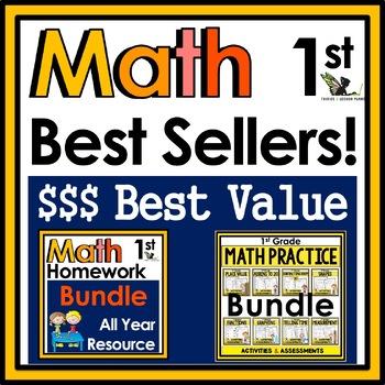 1st Grade Math Best Sellers Bundle - Practice, Assessments, and Homework