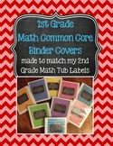 1st Grade Math Binder Covers (with Common Core) - Chevron & Chalkboard!
