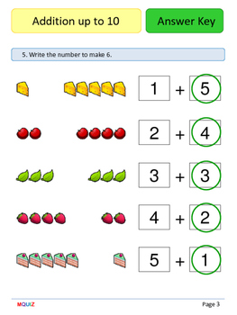 1st Grade Math Booklet - Addition up to 10 - Mixed practice w answer Key