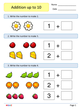 1st Grade Math Booklet - Addition up to 10 - Mixed practic