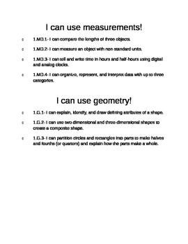 1st Grade Math CCSS I Can Statements- Editable