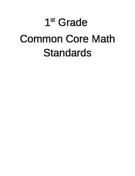 1st Grade Math CCSS I Can Statements- Editable