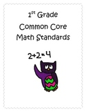1st Grade Math CCSS I Can Statements- Owl Theme