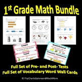 1st Grade Math Bundle Pre- & Post- Tests & Vocabulary Word Wall Cards CCSS First