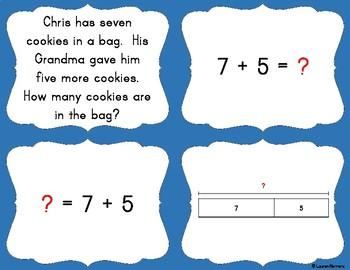 TEKS 1.3B, 1.3D, 1.3E, 1.5D, 1.5F 1st Grade Math Card Sort