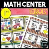 1st Grade Math Center Labels