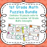 Math: Games 1st Grade Back to School Math Centers Puzzles Bundle