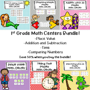 1st Grade Math Centers Bundle
