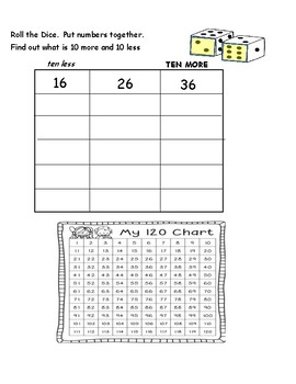 1st Grade Math Centers and Worksheet