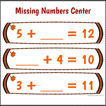 Math Centers 1st Grade for October