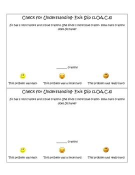 1st Grade Math CCSS Exit Slips with Self Reflections- Qter 1