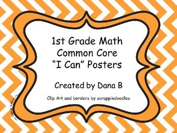 """1st Grade Math Common Core """"I Can"""" Posters Chevron"""