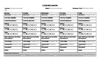 1st Grade Math Common Core Lesson Plan
