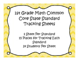 1st Grade Math Common Core Standard Track Sheets