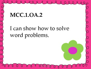 1st Grade Math Common Core Standards - Student Friendly- Flower Theme